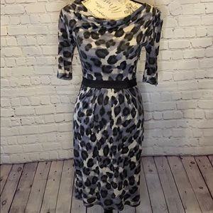 Banana republic Leopard pleated 3/4 sleeve dress
